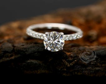 FOREVER ONE D-F Color Certified 7mm/1.25 Carats Round Cut Moissanite 14k White Gold Diamond Engagement Ring (Other Stone Available)