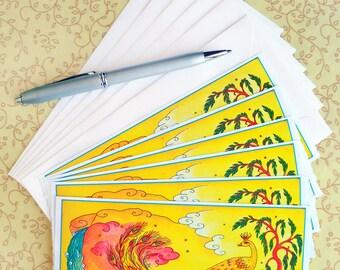Hand Made Stationery L'oiseau du Paradis Correspondence Slips Set of Six