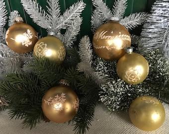 Vintage Christmas, 1940s Christmas, Gold, Set/6, Christmas, Shiny Brite, Christmas Decor, Vintage Ornament, Glass Ornaments, Vintage