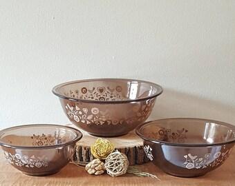 Vintage Pyrex Mixing Bowl Set Festive Harvest 1980's 3 Pyrex Nesting Bowls