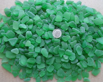 Genuine Pure Beach Sea Glass Surf Tumbled Emerald Green Kelly Seaglass Natural 40 pieces Each Lot small