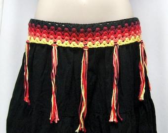 Crochet Fire Dance Belt, Festival Hip Scarf, Crochet Hip Belt, Fringe Hip Belt, Belly Dance Belt, Festival Belt, Festival Scarf