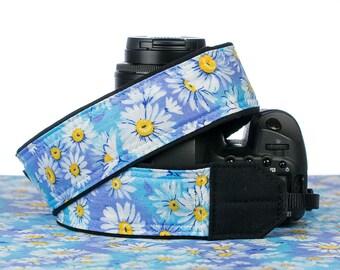 White Daisy dSLR Camera Strap, Camera Neck Strap, Replaces Canon Nikon strap, Blue, Aqua, Daisy, Floral, 078