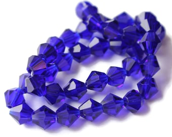 39 8mm Cobalt Blue Beads Crystal Beads Faceted Bicone Beads Full Strand 12 Inches