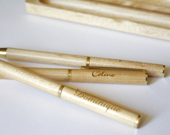 Personalized pen, unique wedding or birthday gift, custom original present, name engraved by laser, with wooden case, engraved in France