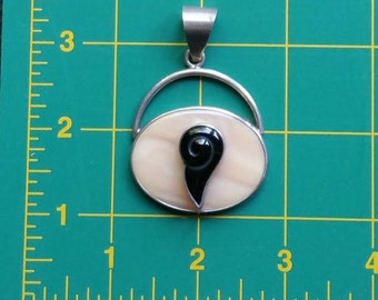 Modernist Gemstone Pendant Pink Jasper and Onyx Sterling Silver