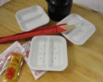 Asian Dipping Sauce Dishes White Rice Eye Pattern Divided Small Dish Set of 3  Sushi Bento Chinese Japanese Cuisine