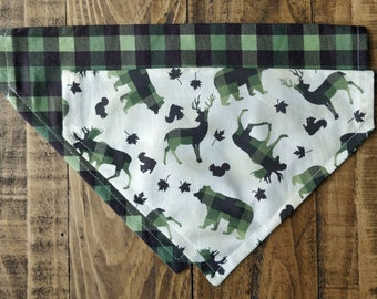 The Woodsy Plaid - Green - Over the Collar Dog Bandana