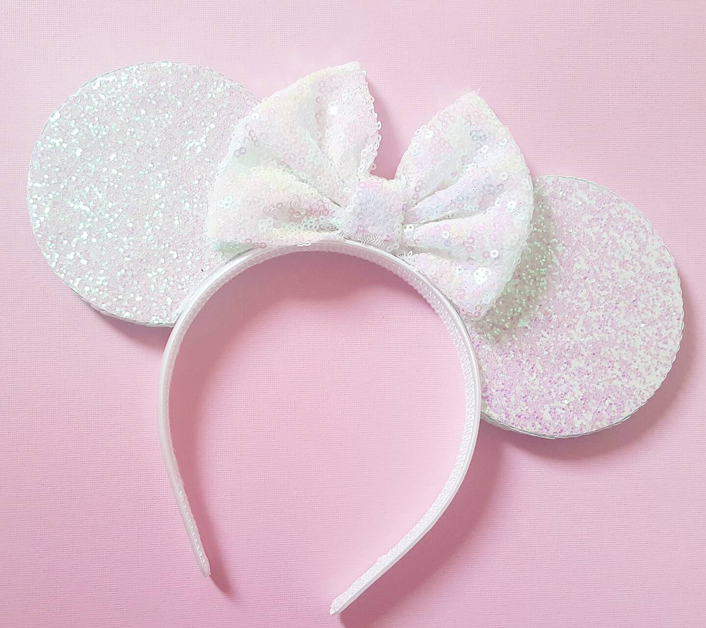 Irredescent Glittery White Mouse Ears Minnie Mouse Ears