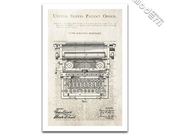 Vintage Typewriter Patent Art Blueprint Design Giclee on archival matte paper
