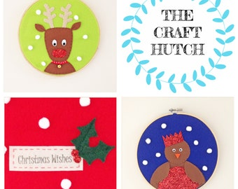 Christmas Kit for Kids, Christmas Kit, Craft Kit, Christmas Craft, Hoops Kit, Sew Your Own Kit, Reindeer Kit, Robin Kit, Handmade Christmas