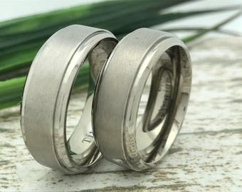 8mm His and Hers Titanium Wedding Ring, Personalize Engrave Titanium Band, Titanium Couples Ring, Anniversary Band, Brushed Finish