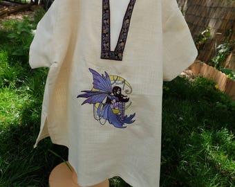 Chemise ou tunique enfant médiévale fantastique brodée fée ou elfe avec lune