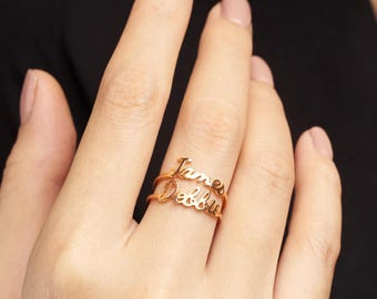 Personalized Name Ring • Gold Name Ring • Stacking Ring • Stackable Mother Ring • Name Stack Ring (Price is for ONE ring) - CNR