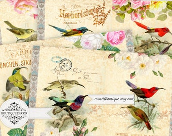 Vintage Birds Printable Journal Kit. Instant Download.