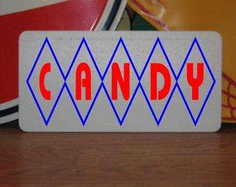 "CANDY Retro Vintage Diamond Design Metal Sign 6""x12"" 40'S 50'S 60'S Home & Kitchen Decor"