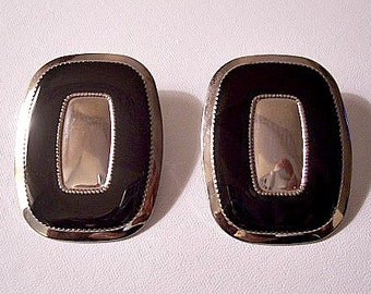 Black Band Pierced Earrings Silver Tone Vintage Extra Large Square Polished Crimped Accent Discs