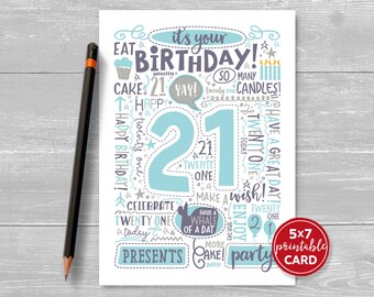 "Printable 21st Birthday Card - Doodled Twenty One Birthday Card in Blue - 5""x7"" plus printable envelope template. Instant Download."
