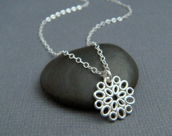 """small silver necklace. silver flower necklace. sterling silver. simple. modern oval filigree. delicate. everyday. dainty jewelry 1/2"""""""