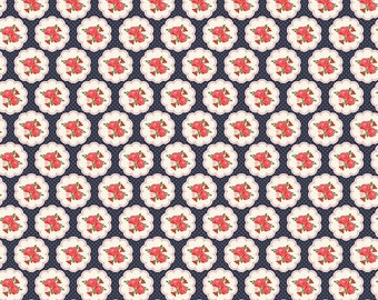 Posy Garden Scallop Navy  c5421 - POSY GARDEN by Carina Gardner -  Riley Blake Designs Fabric - By the Yard