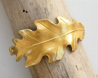 2 gold Oak Leaf jewelry CUFF Bracelet piece 65mm x 29mm (ST3a)