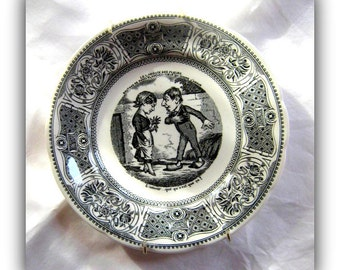 Antique  Gien French Faience Vignettes Transferware Plate - Collectible  French Pottery