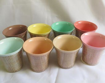 Vintage Raffia Ware Set of 8 Pastel Colors Coffee Cups