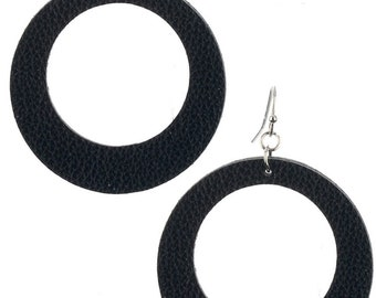 Leather Look Cutout Round Earrings - Silver/Black