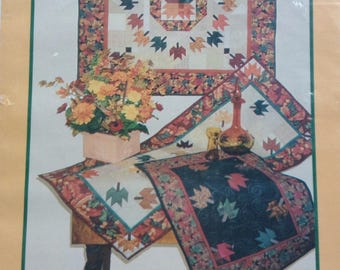 Fall Autumn leaves quilted placemat and table runner pattern