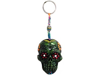 Day of the Dead Green Sugar Skull Handmade Keychain