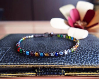 beads anklet/Multi anklet/glass anklet/colorful anklet/simple anklet/Handmade Anklet from Thailand/summer anklet/Hawaii jewelry/India anklet