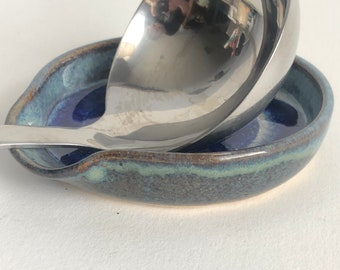 Blue Spoon Rest, Blue Glass, Handmade Ceramic Spoon Rest