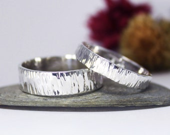Couple Ring Set, Silver Tree Bark Ring, Hammered Ring, Rustic Ring, Minimalist Ring, Engagement Ring. Couple Ring Set.