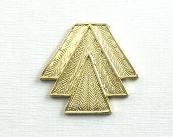 AS-IS Sale 2 brass TRIANGLE geometric jewelry embellishments. Amazing detail. 25mm x 26mm (FF44)
