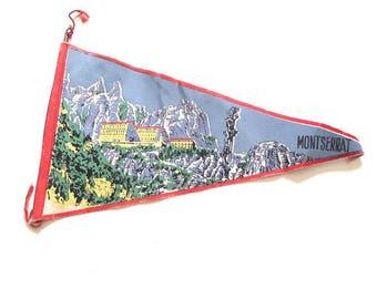Montserrat, Spain Small Vintage Souvenir Pennant
