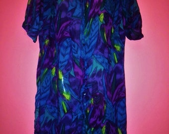 Vintage Semi-Sheer Tropical Tunic Blouse, Size L/XL
