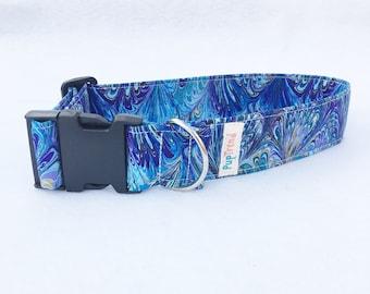 Blue Designer Dog Collars//Handcrafted Dog Collars//Designer Cat Collars//Designer Collars//Gifts Under 30//Handcrafted Cat Collars//