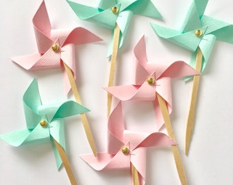 Pink and Mint Pinwheel Cupcake Toppers, Gender Reveal Cupcake Toppers, First Birthday Cupcake Toppers