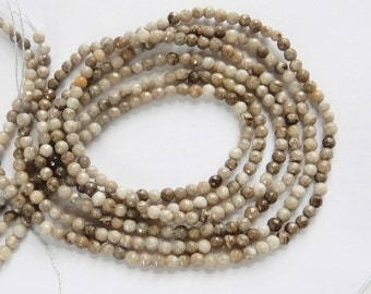 3mm  Silver Leaf jasper  faceted round beads  , full strand (15 inches) . gorgeous quality, Coffe, beige, gray , white