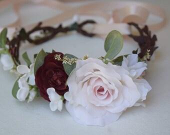 Blush, Burgundy & White Flower Crown - Blush Flower Girl Crown- Photo Prop - Bridal Flower Crown- Blush Hair Wreath - Pink Baby Flower Crown