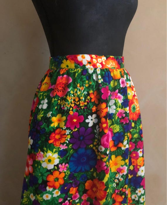 Vintage Psychedelic Floral Maxi  Skirt 1960's