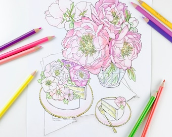 Adult coloring page | Peony Flower Coloring Pages for Adults | Digital Coloring Hand Drawn Flowers Line Art by Olga Zaytseva