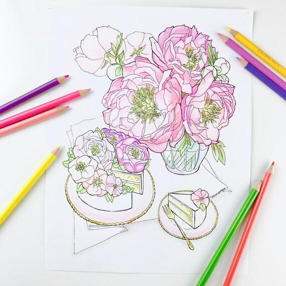 Erwachsenen Färbung Seite Pfingstrose Blume Malvorlagen für