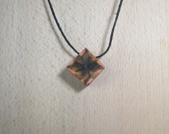 My little red square, wooden pendant