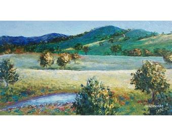 Landscape Painting, FRAMED art, Australian landscape, country scene, impressionist landscape, Etsy Art, Jan Matson