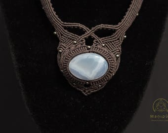 Micro Macrame Necklace with Chalcedony Cabochon Designer Tribal Boho Fairy Jewelry