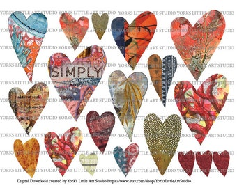 Digital Download Art Journaling Collage Sheets Heart of My Hearts Sheets 2 Pages
