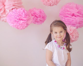 Tissue paper pom poms,  baby shower decorations, girl baby shower, paper decorations, paper pom pom, first birthday party decorations, poms