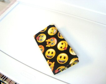 Fabric Checkbook Cover, Checkbook Holder Cash Holder -Emoji on Black Without Snap Closer