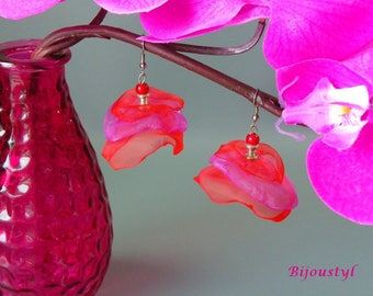 "Earrings - ""Volantine"" red and fuchsia - medium silver"